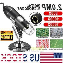 1000X/1600X 8 LED USB Zoom Digital Microscope Hand Held Biol