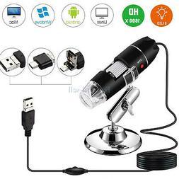 1600X 8LED 3in1 Digital Microscope Endoscope Zoom Camera Mag