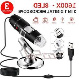 1600X Magnifier 8LED USB Digital Microscope Camera for PC La