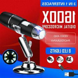 3in1 1600x usb digital microscope 8led handheld