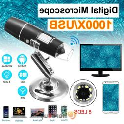 Digital 8LED 20X-1000X HD 1080P Wired Microscope Magnifier f