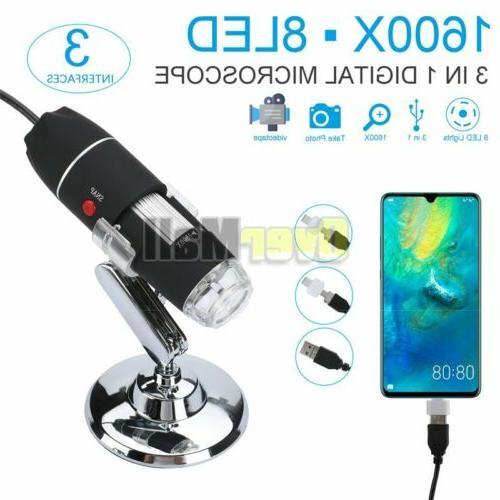 1600x digital microscope endoscope with stand usb