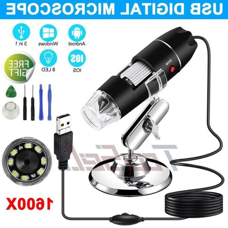 1600x usb digital microscope camera 8 led