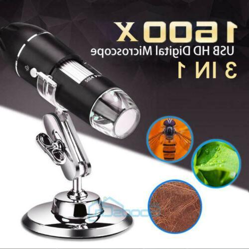40X-1600X 8 LED Digital Microscope Camera Handheld USB Magni