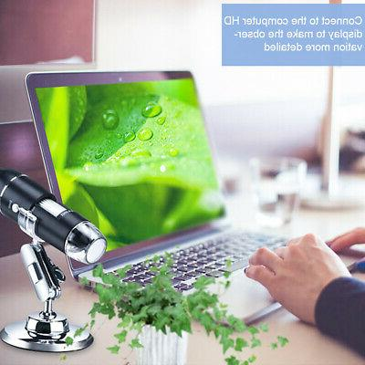 8 LED Microscope Digital Electronic Magnifier HD Camera for PC
