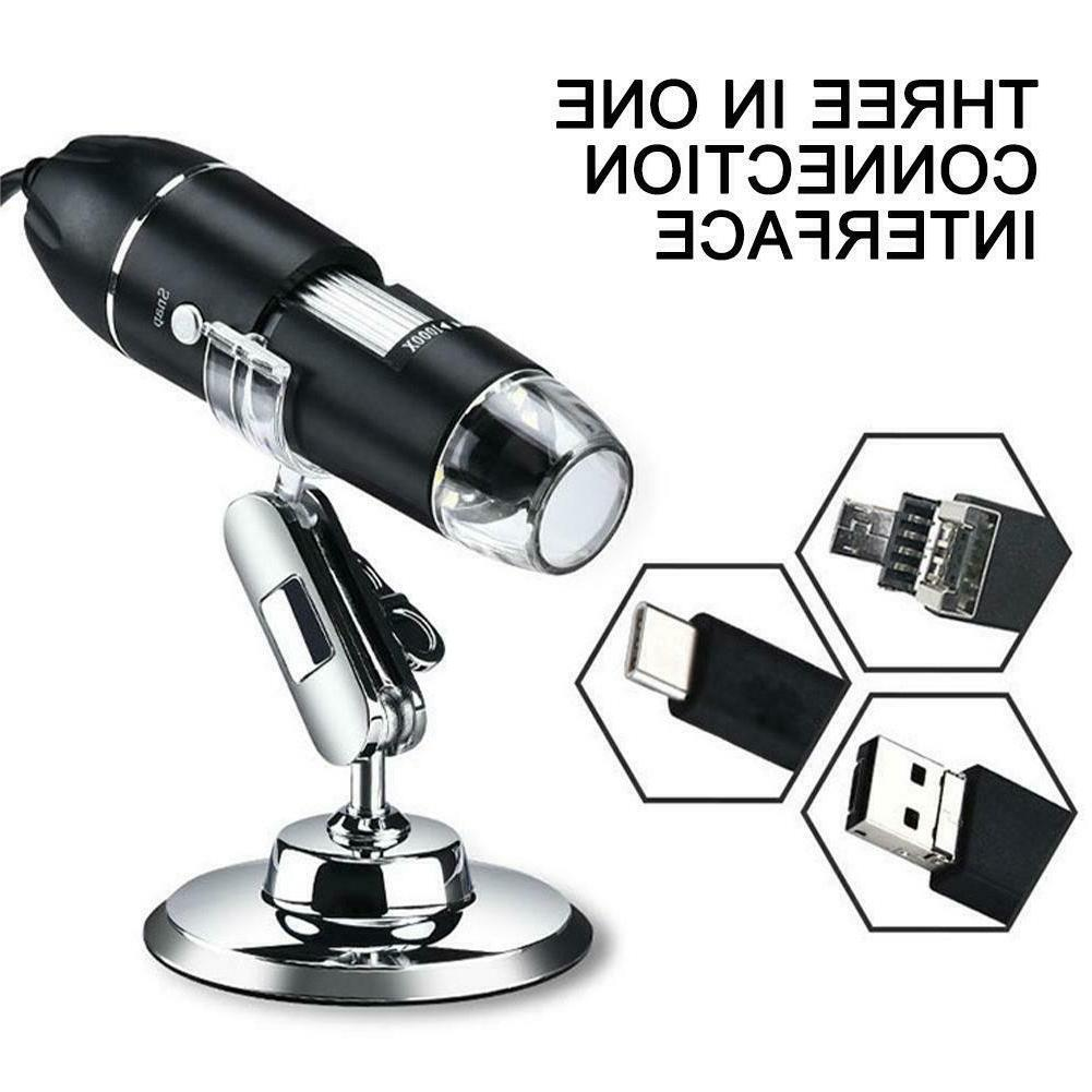 8Led USB Microscope Magnifier for PC phone Tablet With Stand