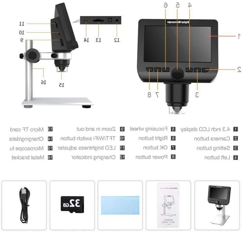 LCD 4.3 1080P Megapixels 1000X Magnification