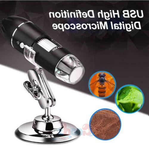 0X-1000X 8 LED Digital Microscope Camera Handheld USB Magnif