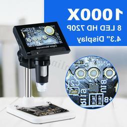 "Multifunction 1000X 4.3"" Electronic HD Microscope LCD Screen"