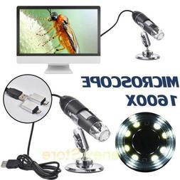 USB Digital Microscope Endoscope 1600X Zoom 3-in-1 8LED Magn